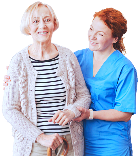 caregiver assisting her old woman patient