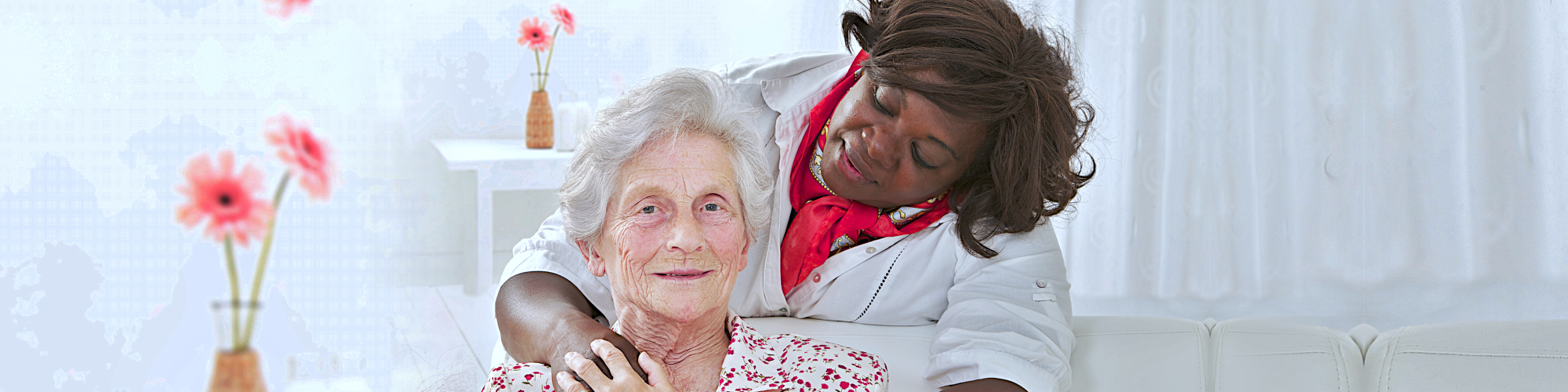 african caregiver and her old woman patient